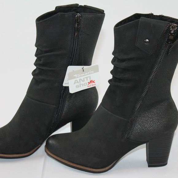 Tamaris Suede Leather Boots 5.5 Black or Red NEW NWT